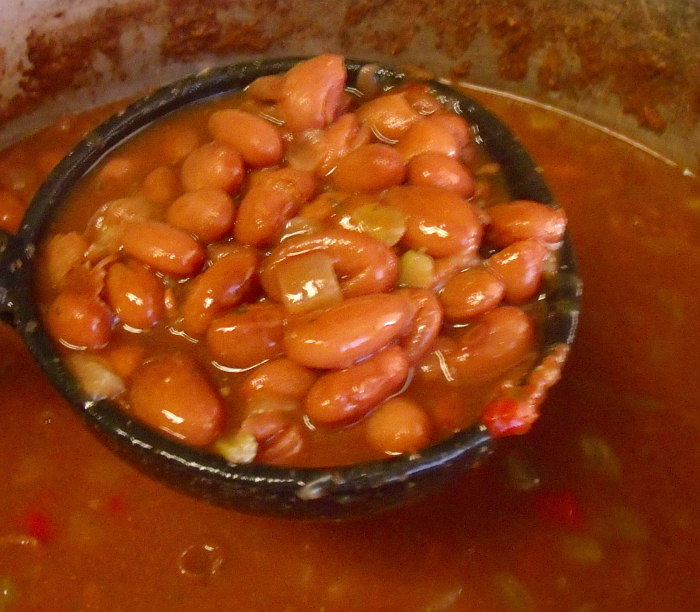 cranberry beans in ladle