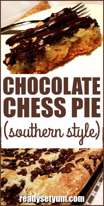 Chess pie, the best way -- chocolate and southern style! This has been a family favorite for years.